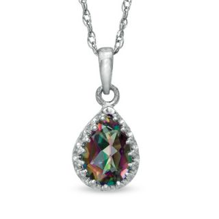 Pear Shaped Rainbow Quartz Crown Pendant in Sterling Silver   Zales