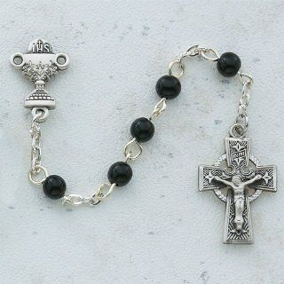 5mm Black Glass Bead .925 Sterling Silver Centerpiece Celtic 18 1/2 inch Rosary: Jewelry