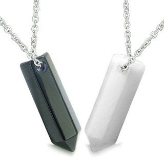 Amulets Love Couple or Best Friends Lucky Crystal Point Wands Yin Yang Powers Bullet Style Shape Black Onyx and White New Jade Gems Necklaces: Best Amulets: Jewelry