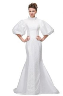 Orifashion White Giant Puff Sleeves Sheath Wedding Dress BWGHER0129 at  Women�s Clothing store: