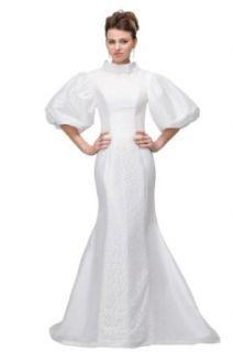 Orifashion White Giant Puff Sleeves Sheath Wedding Dress BWGHER0129 at  Women�s Clothing store: