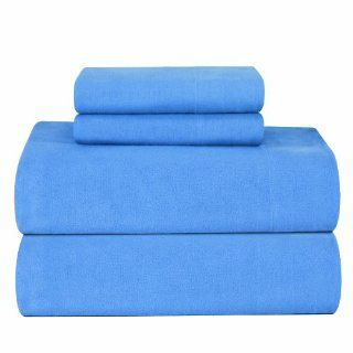 Pointehaven Heavy Weight Solid Flannel 100 Percent Cotton Sheet Set, Blue, Twin XL