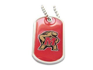 Q0 5BQ6 976M   Maryland Terps Terrapins Dog Tag Domed Necklace Charm Chain  Sports Fan Necklaces  Sports & Outdoors