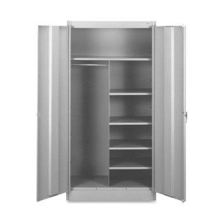 "Tennsco Combination Wardrobe/Storage Cabinet   36"" x 18"" x 72""   Security Lock   Light Gray: Everything Else"