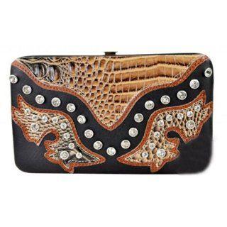 Western Patron Cowgirl Rhinestone Studded Crocs Flat Wallet Checkbook Clutch Black