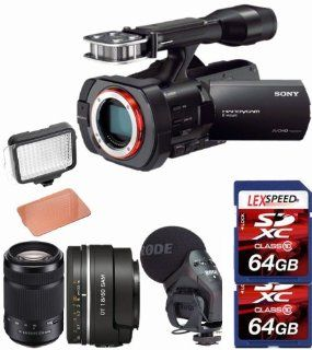 Sony NEX VG900 Full Frame Camcorder (Black) + SAL50F18 Sony DT 50mm f/1.8 + Sony 55 300mm f/4.5 5.6 Lens + Rode Stereo VideoMic + LED + Two 64GB Cards  Camera & Photo