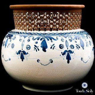 Hand Painted Italian Ceramic   Pierced Planter   Handmade in Santo Stefano Di Camastra, Sicily, Italy  Patio, Lawn & Garden
