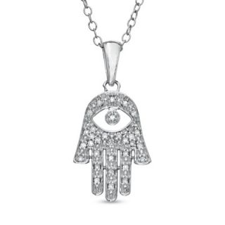 10 CT. T.W. Diamond Hand of Fatima with Evil Eye Pendant in Sterling