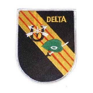"US Military Embroidered Iron on Patch   United States Army Special Forces Collection   4.25"" Delta Crest Applique: Clothing"