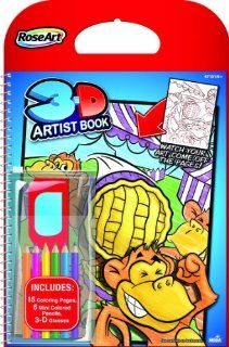 RoseArt 3D Artist Book, 8 x 10 Inches, 15 Pages with 6 Pencils and 1 Pair 3D Glasses, Boys (47151) : Wirebound Notebooks : Office Products