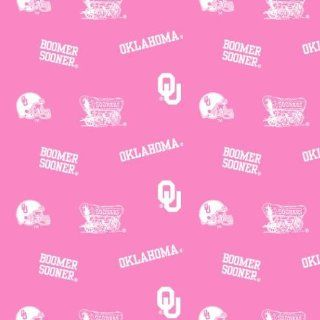 University of Oklahoma Boomer Sooners Pink Fabric By the Yard