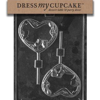 Dress My Cupcake DMCB048 Chocolate Candy Mold, Baby Heart Lollipop, Baby Shower: Kitchen & Dining