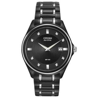 Mens Citizen Eco Drive™ Diamond Accent Watch with Black Dial (Model