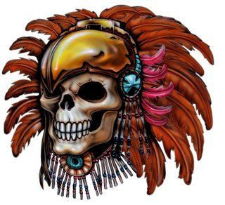 "6"" Printed native american skull color airbrushed decal sticker for any smooth surface such as windows bumpers laptops or any smooth surface."