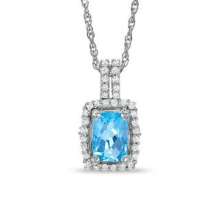 Cushion Cut Blue Topaz and White Topaz Framed Pendant in Sterling