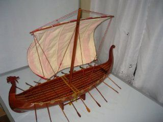 "Viking Dragon Boat High Quality Hand Made Wooden Model Ship 32"" Already Built with Minor Assembly Require "" Not a Kit """