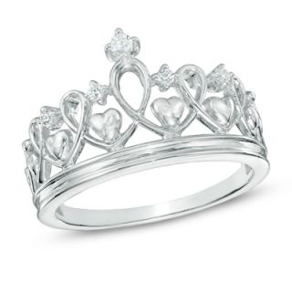 Diamond Accent Heart Crown Ring in Sterling Silver   Zales