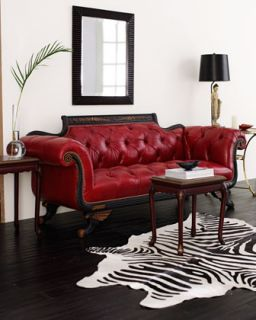 Red Tufted Leather Loveseat   Old Hickory Tannery
