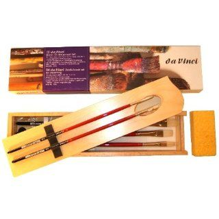 Da Vinci 5245 Maestro 2 Hog Bristle Acrylic and Oil Painting Deluxe Wood Box 5 Brush Set with Wood Mixing Palette