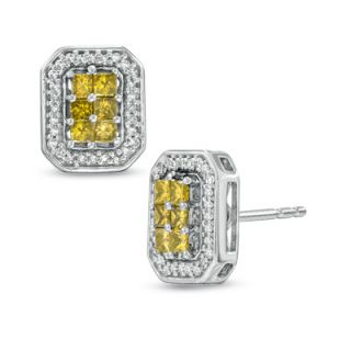 CT. T.W. Princess Cut Enhanced Yellow and White Diamond Frame