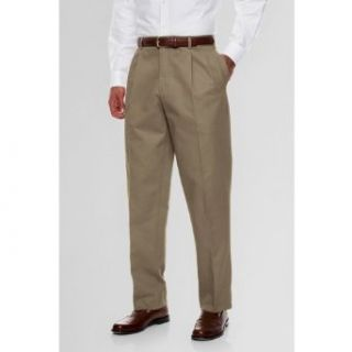 Lands' End Men's Pleat Front Traditional Fit No Iron Prehemmed Chino Pants, 32 30, Khaki at  Men�s Clothing store