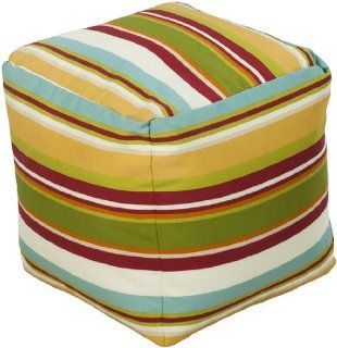 "18"" CUBE Poufs 100% Polyester Green Yellow, Aqua, Venetian Red, Golden Yellow, Papyrus The bold colorful stripes in shades of red, yellow green and orange will brighten up any space both indoors and outdoors. : Ottomans : Everything Else"