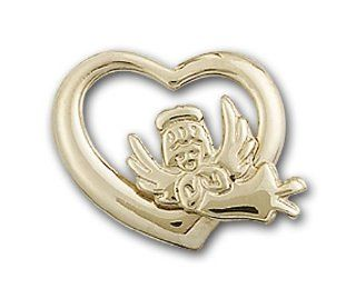 14kt Solid Gold Pendant Heart / Guardian Angel Medal 1/2 x 5/8 Inches  4206  Comes with a Black velvet Box Jewelry