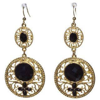 "Designer Inspired 3"" Gold Tone Earring with Faceted Oval and Round Black Stones, and Smooth Marquise Black Stones Set in a Filigree Design. Jewelry"