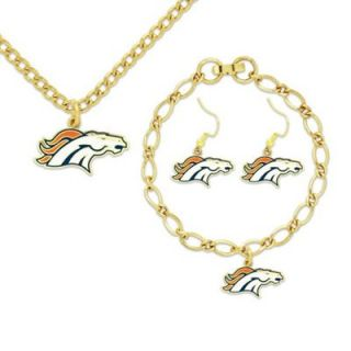 Denver Broncos Ladies Gold Tone Jewelry Gift Set