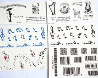 GGSELL GGSELL fashion design hot selling temporary tattoo stickers combination 6pcs/package different designs, it includes Sheet Music/Musician/Musical Instruments/english letter/barcode/etc.  Body Paint Makeup  Beauty