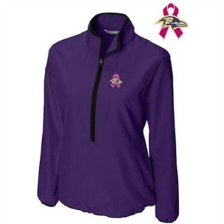 Cutter & Buck Baltimore Ravens Womens Breast Cancer Awareness WeatherTec Post Game Half Zip Jacket