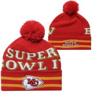 New Era Kansas City Chiefs Super Bowl IV Commemorative Super Wide Point Knit Beanie   Red/Gold