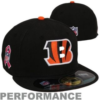 New Era Cincinnati Bengals Breast Cancer Awareness On Field 59FIFTY Fitted Performance Hat   Black