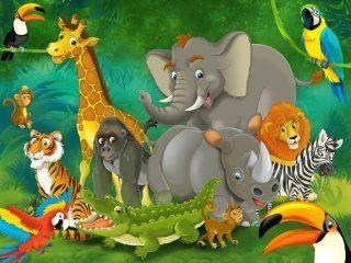 Jungle animals photo wallpaper   Jungle with animals wall ornament   XXL jungle wall decoration  Nursery Wall Decor  Baby