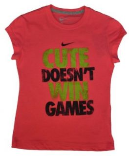 "Nike Girls ""Cute Doesn't Win Games"" Shirt Pink Large : Fashion T Shirts : Sports & Outdoors"