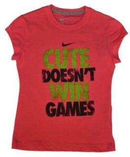 "Nike Girls ""Cute Doesn't Win Games"" Shirt Pink Large : Fashion T Shirts : Sports & Outdoors"