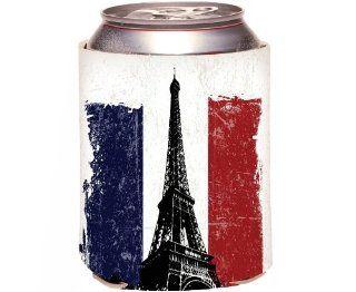 Rikki KnightTM Eiffel Tower over French Flag Grunge Effect Design Drinks Cooler Neoprene Koozie Kitchen & Dining