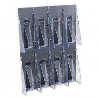 DEFLECT O Stand Tall Eight Pocket Plastic Wall Mount Leaflet Display Rack, Black/Clear (Case of 2)  Office Book Racks