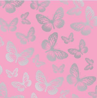 Fun4Walls Effect Butterflies Wallpaper, Metallic Silver