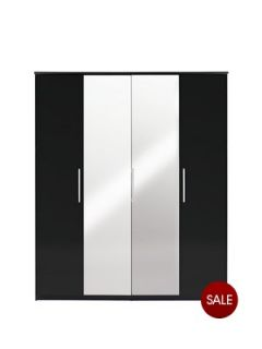 Prague High Gloss 4 Door Mirrored Wardrobe