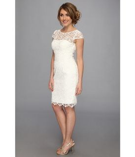 Adrianna Papell Cutaway Lace Dress Ivory