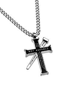 "Christian Mens Black Stainless Steel Abstinence ""Not Ashamed  Of The Gospel Of Christ, For It Is The Power Of God To Everyone That Believeth"" Nail reads ""Established 33 A.D."", and back reads ""Romans 116"". Iron Cross Purity Ne"