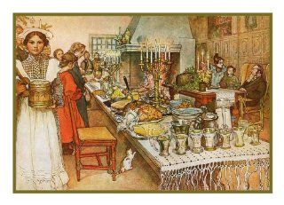 Swedish Artist Carl Larsson Julaftone Christmas Even Dinner Counted Cross Stitch Chart from Watercolor