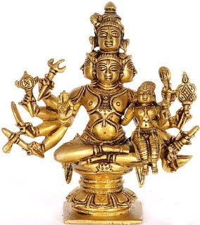Five Headed Shiva with Shakti   Brass Sculpture   Statues