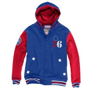 Mitchell & Ness NBA Second Quarter Fleece Jacket   Mens   Basketball   Clothing   Philadelphia 76ers   Royal/Red