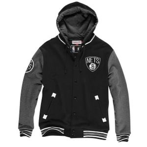 Mitchell & Ness NBA Second Quarter Fleece Jacket   Mens   Basketball   Clothing   Brooklyn Nets   Black/Grey