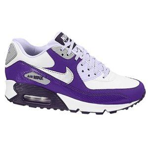 Nike Air Max 90 2007   Girls Grade School   Running   Shoes   White/Purple Dynasty/Electro Purple/Violet Frost