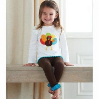 Girl's Thankgiving Outfits: Mud Pie Turkey Applique Baby Girl's Legging Set: Jewelry
