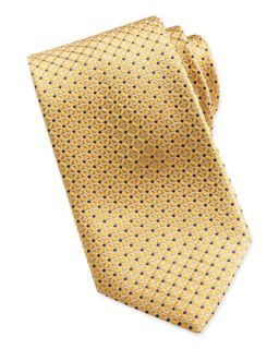 Mens Mix Square Pattern Silk Tie, Yellow   Brioni   Yellow