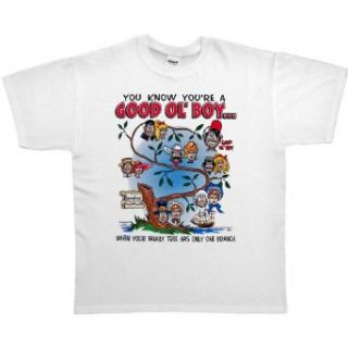 MENS T SHIRT : WHITE   SMALL   You Know Youre A Good Ol Boy When Your Family Tree Has Only One Branch   Funny Redneck Good Old Boy: Clothing